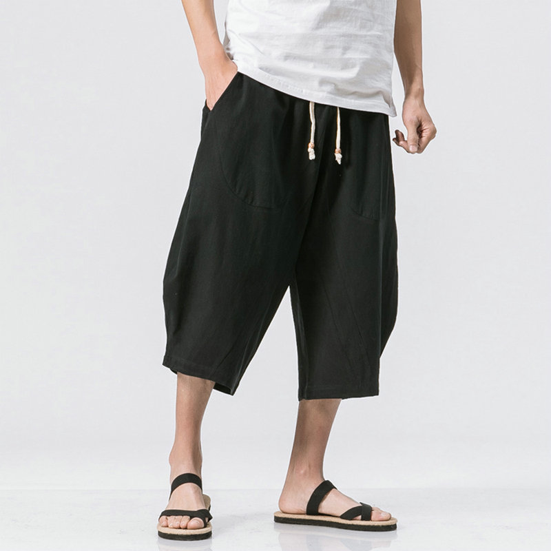 Chinese Style Summer Men Linen Pants 2020 Men Wide Leg Trousers Male Drop Crotch HipHop Man Joggers Calf-Length Pants Track Pant
