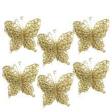 6Pcs Christmas Tree Ornaments Christmas Simulation Butterfly Xmas Ornament
