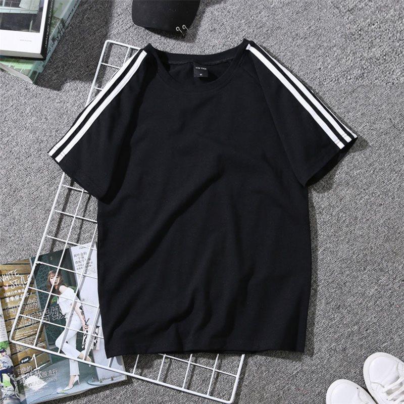 Summer Simple Beach Gothic White Big Size Harajuku Women Top Tees Casual Black Stripe Loose Active Female Fashion T-shirts 2019