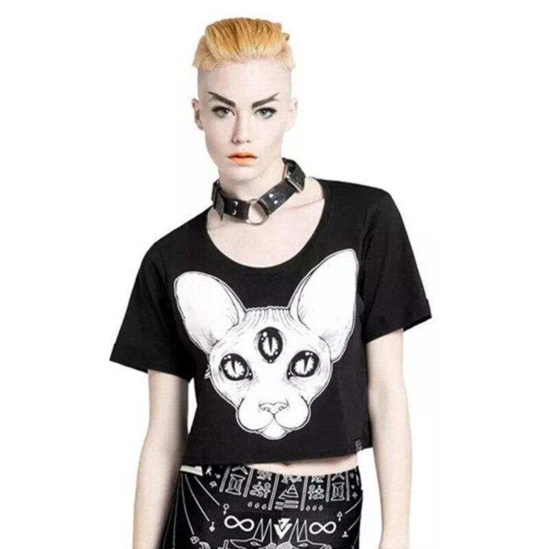 Harajuku zomer nieuwe collectie vrouwen tops punk sphynx kat gedrukt tees canadian hairless cat element gedrukt crop tops