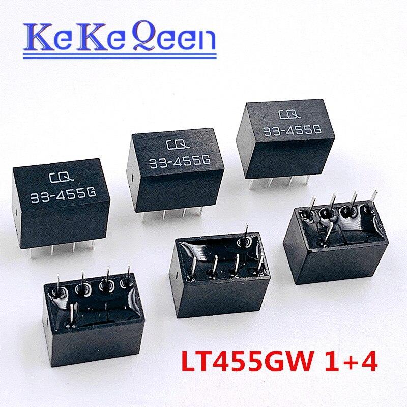 100 pçs/lote LT455GW LT455G 455G 33 CQ-455G LT455 1 + 4 5Pin DIP-5 455KHz filtro de cerâmica Para A comunicação relé de sinal