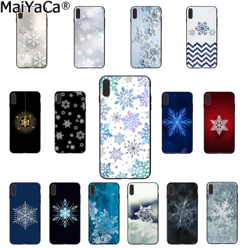 MaiYaCa hermosa cubierta inteligente de copo de nieve negro suave carcasa de teléfono para Apple iPhone 8 7 6 6S Plus X XS MAX 5 5S SE XR cubierta