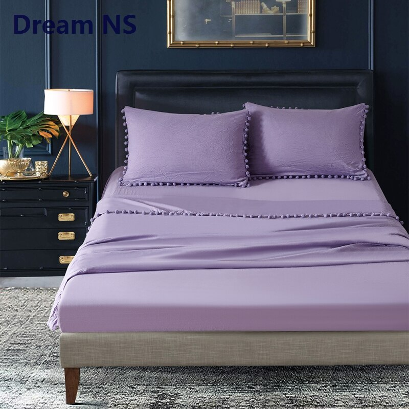 Dream NS مجموعة ملاءات 30 سنتيمتر المجهزة ورقة طويلة مسطحة + المخدة الملك الملكة حجم لينة غسلها القطن Roupa دي كاما الخزامى