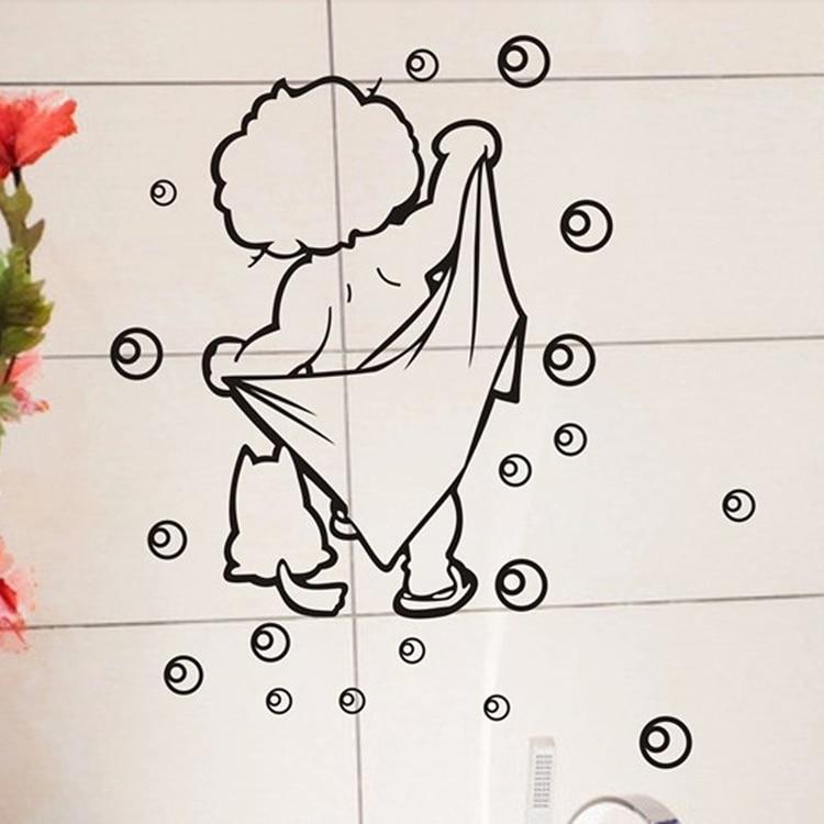 1 Uds. Pegatinas de pared de baño para niños encantadoras, pegatinas de Arte Africano extraíbles para baño, pegatinas de pared para azulejos y gafas