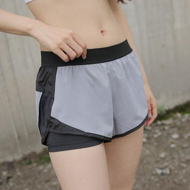 Vêtements de course femmes sport court deux couches Anti-lumière yoga shorts de gymnastique