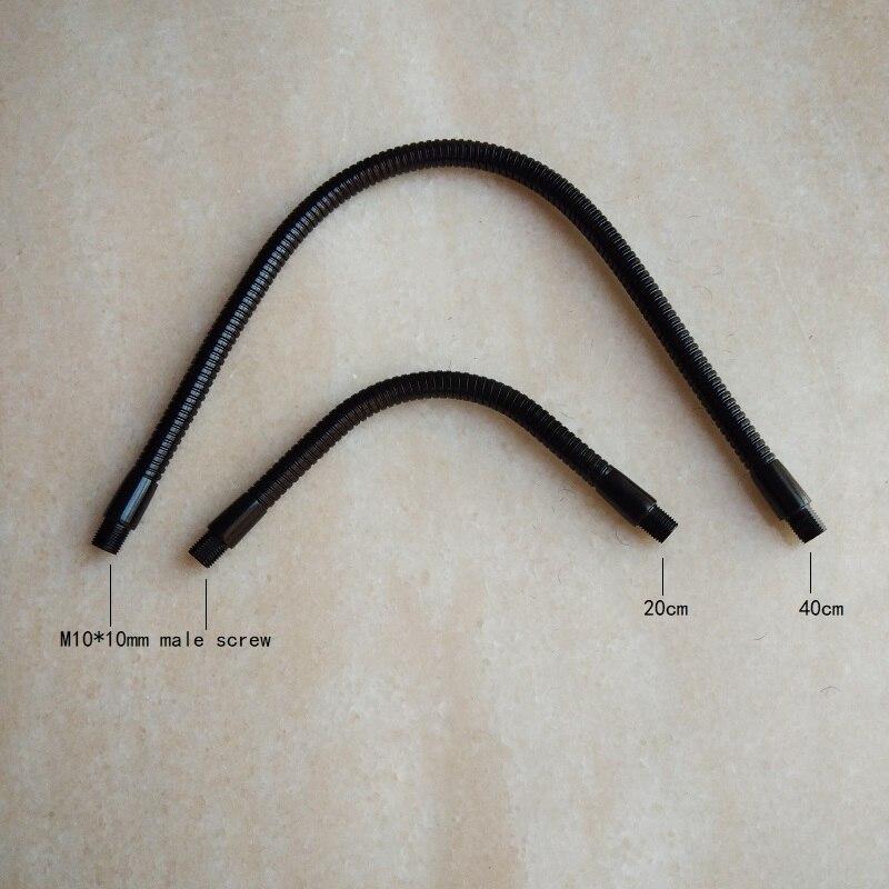 2pieces/lot  m10  thread black Soft Light metal Flexible conduit metal gooseneck hose serpentine tube for clamp lamp utility