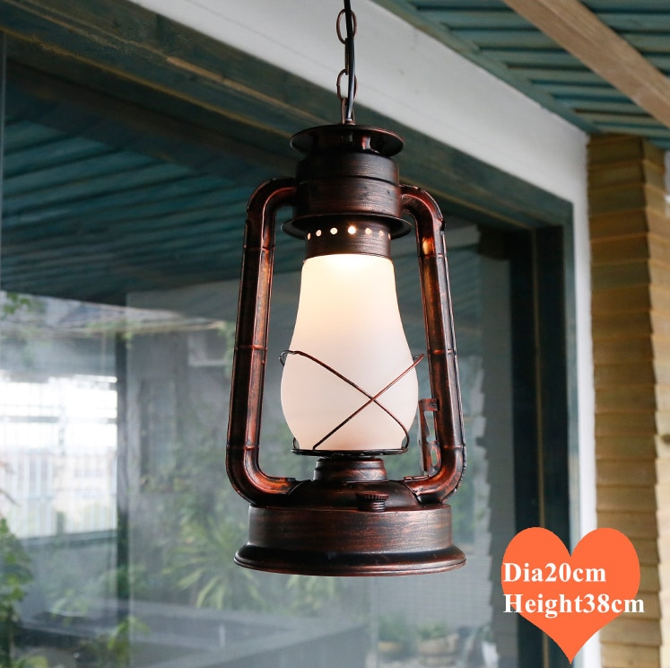 American west cowboy classic iron pendant lights Mediterranean Sea frosted glass retro E27 lamp for vestibule&corridor LDK042