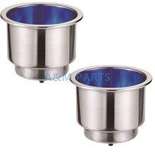 Porte-boissons en acier inoxydable   2 pièces, gobelet avec vidange 12V bleu 9 * pour bateau RV Marine