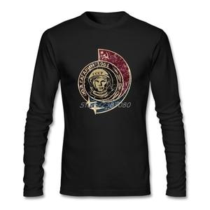 CCCP Yuri Gagarin 1961 Vintage T Shirt Cotton Long Sleeve Retro T-shirt Men Top Group Funny T-shirts