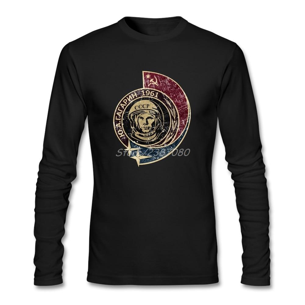 CCCP Yuri Gagarin 1961, camiseta Vintage de algodón, camiseta Retro de manga larga, camisetas divertidas para grupo de hombres