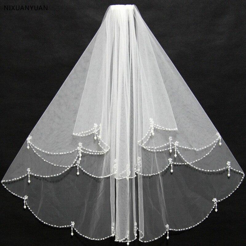 Simple capa 2 capas con reborde corto boda velo blanco marfil tul mujeres velo de novia con Combe accesorios de la boda en las poblaciones de