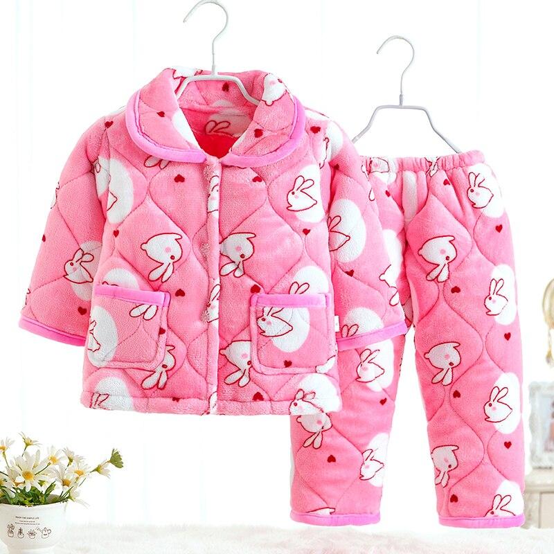 Crianças inverno Pijama Clipe de algodão Flanela Sleepwear Meninas Loungewear Quente Coral Fleece Crianças pijamas Homewear Pijama de Inverno
