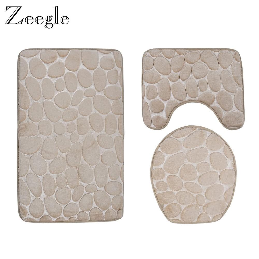 Alfombrillas de baño Zeegle, juego de alfombrillas de baño en relieve 3D, alfombrilla antideslizante para cuarto de baño, alfombrillas de franela para el suelo