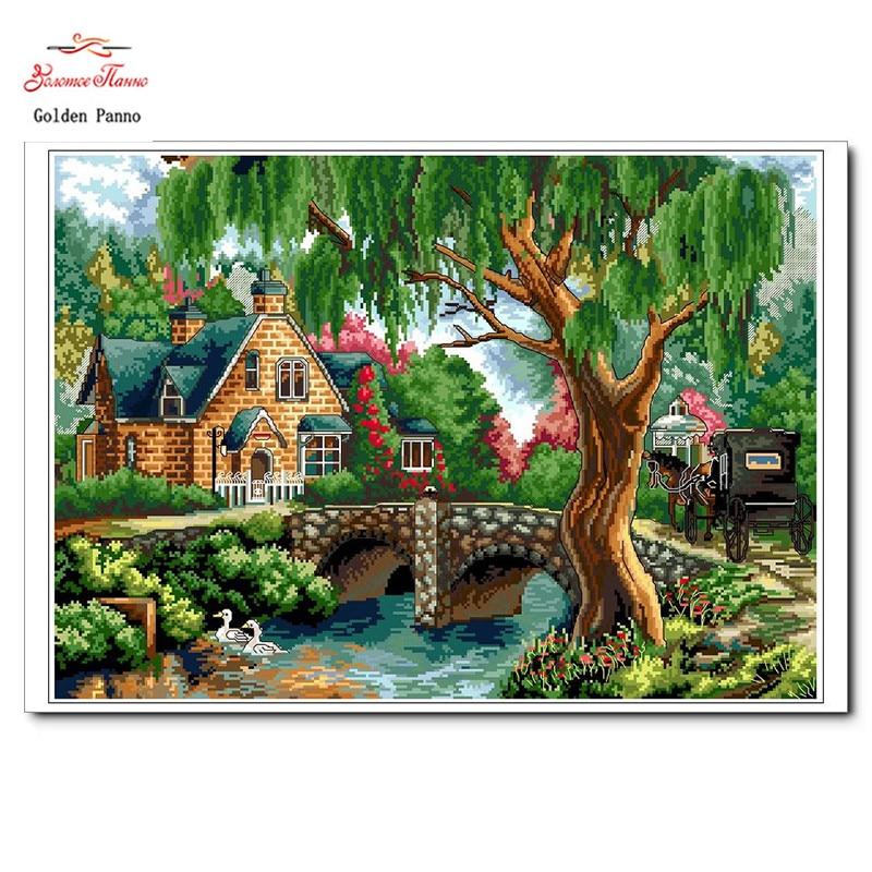 Panno dorado, costura, bordado, pintura de paisaje DIY, punto de cruz, kits, punto de cruz de casa del árbol de 11 quilates, juegos para bordado