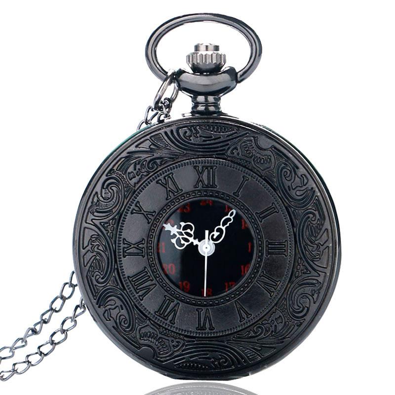 Vintage Charm Black Unisex Fashion Roman Number Quartz Steampunk Pocket Watch Women Man Necklace Pen