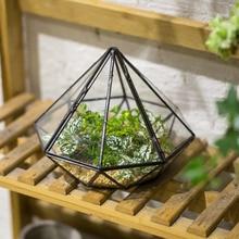 Garden Tabletop Diamond Glass Geometric Terrarium Balcony Display Planter for Succulents Plants Decorative Flower Pot with Cover