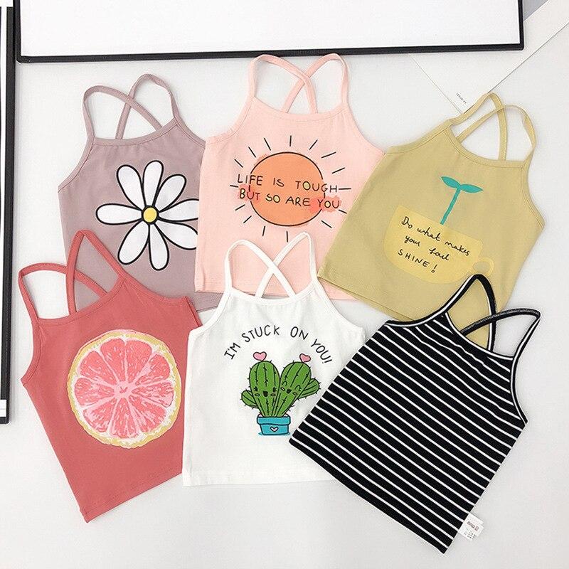 Verano 2019 estampado de frutas Sling girls Camiseta de algodón a rayas chaleco camiseta niños ropa infantil menino para 1 ~ chaleco de niña de 5 años