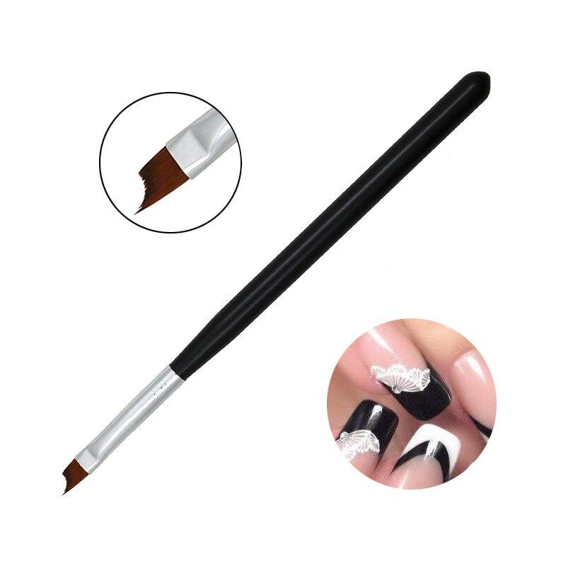 Кисть для дизайна ногтей, французская, косая, полулуная, со смайликом, черная, для рисования, дизайнерские наконечники, акриловые Инструменты для УФ гель-лака, для маникюра