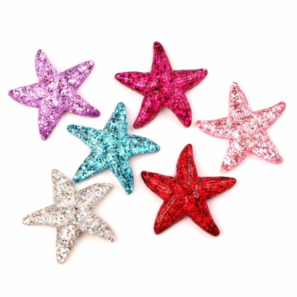 10 pcs Resina Bling Estrelas Do Mar Decoração Artesanato Kawaii Bonito Natator Cabochão Enfeites Para Scrapbooking Acessórios DIY
