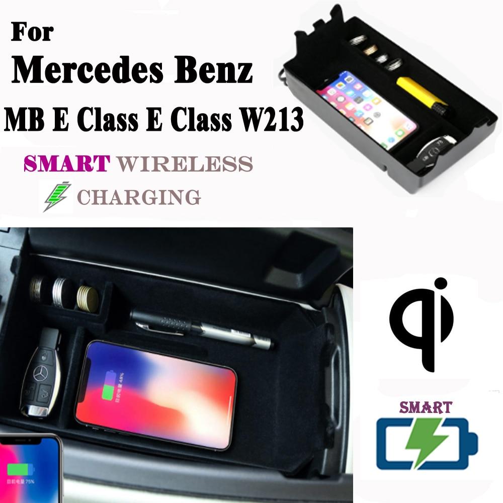 Dla Mercedes Benz MB E klasa W213 QI bezprzewodowa ładowarka ukryte inteligentny bezprzewodowego ładowania uchwyt na telefon pudełko do przechowywania