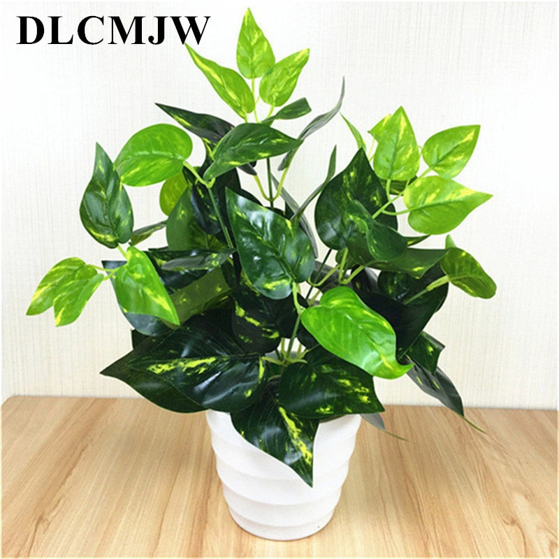 Flores Folhas Verdes Em Vasos de Plantas falso Scindapsus Artificiais Flores para o Casamento Home office Decorar flores plantas artificiais