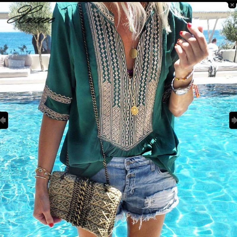 Women Plus Size Ethnic Style Bohemian Blouse Shirt Elegant V-neck Printed Beach Blusas Summer Retro Half Sleeve Blouses S-5XL