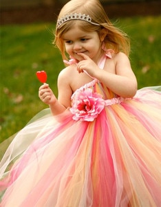 Multicolor Girls Princess Dress Kids Fluffy Tulle Tutu Dress Ball Gown with Strap and Ribbon Waist Children Wedding Party Dress