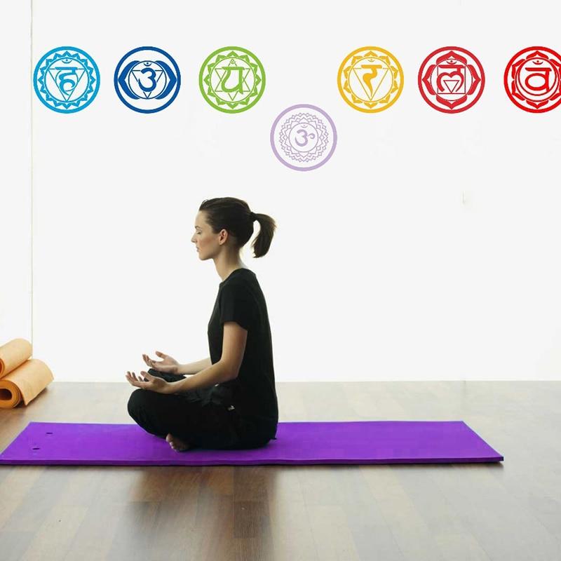 7 шт./компл. настенные виниловые наклейки на стену, Муро мандала, Yoga Om, медитация, символ, настенное художественное украшение, Постер, домашни...
