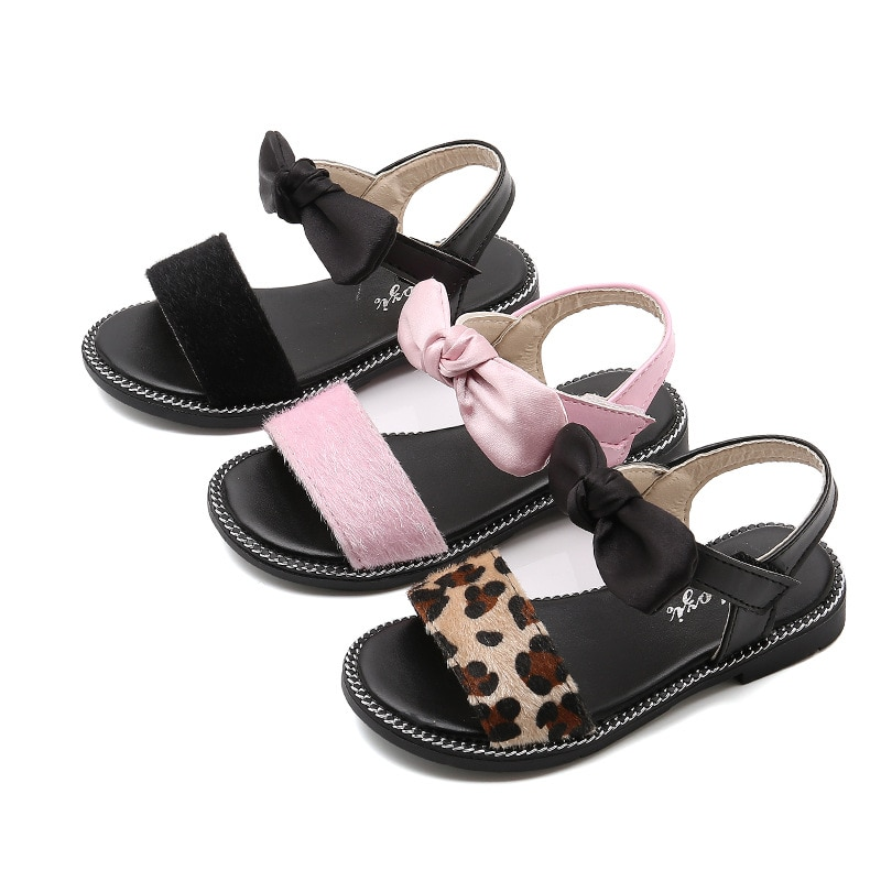 2019Summer New Baby Girls Sandals Children Casual Sandal Kids Girls Shoes Bowtie princess beach shoes Pink Black Leopard 3-15T