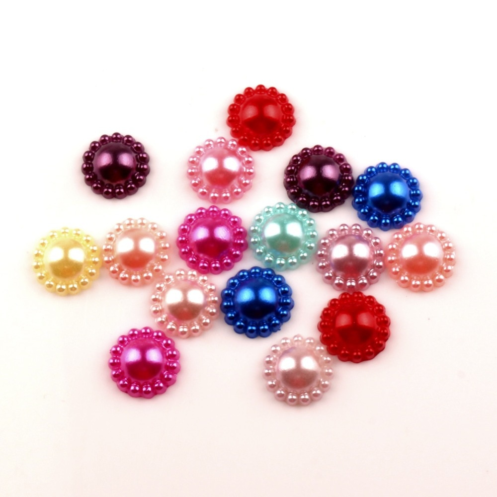 100 Uds redondas mixtas perlas artesanía cabujón Flatback decoración adornos para Scrapbooking costura acceso