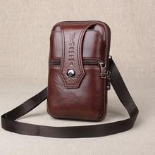 Gold Coral Brand vertical genuine leather wallet 5.5-6.3 inch leather phone bag Multi-function mini shoulder Messenger bag #312