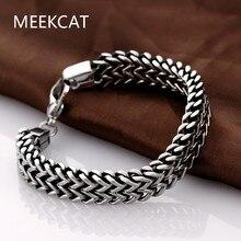 MEEKCAT marque 2017 hommes bracelets et bracelets 5*12mm 316L acier inoxydable poignet bande main chaîne bijoux cadeau