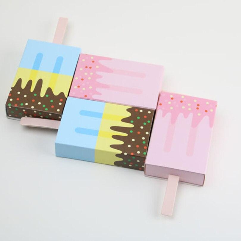 10 unids/set caja de caramelos con forma de helado para fiesta de cumpleaños para niños, regalo, caja de caramelos, fiesta de cumpleaños decoraciones