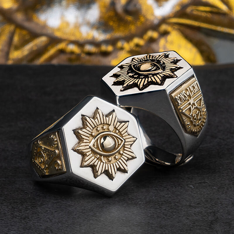 خاتم من الفضة الإسترليني عيار 925 على شكل عين الشيطان ، للرجال من أوروبا وأمريكا