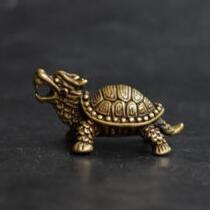 Estatua pequeña de tortuga dragón de bronce puro viejos coleccionables chinos