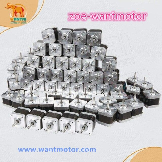 Boa qualidade! 60 pcs Nema 17 Wantai 42BYGHM809 4000g. cm, 1.7A CE ROHS ISO CNC Router Kit Impressora 3D Reprap