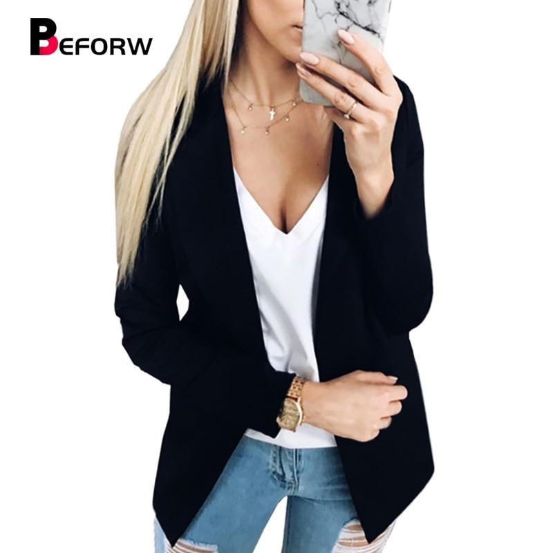 BEFORW Long Sleeve OL Black Blazer Women Fashion Slim Single Blazer Femenino Ladies Blazers Coat 2018 New Winter Autumn Jacket