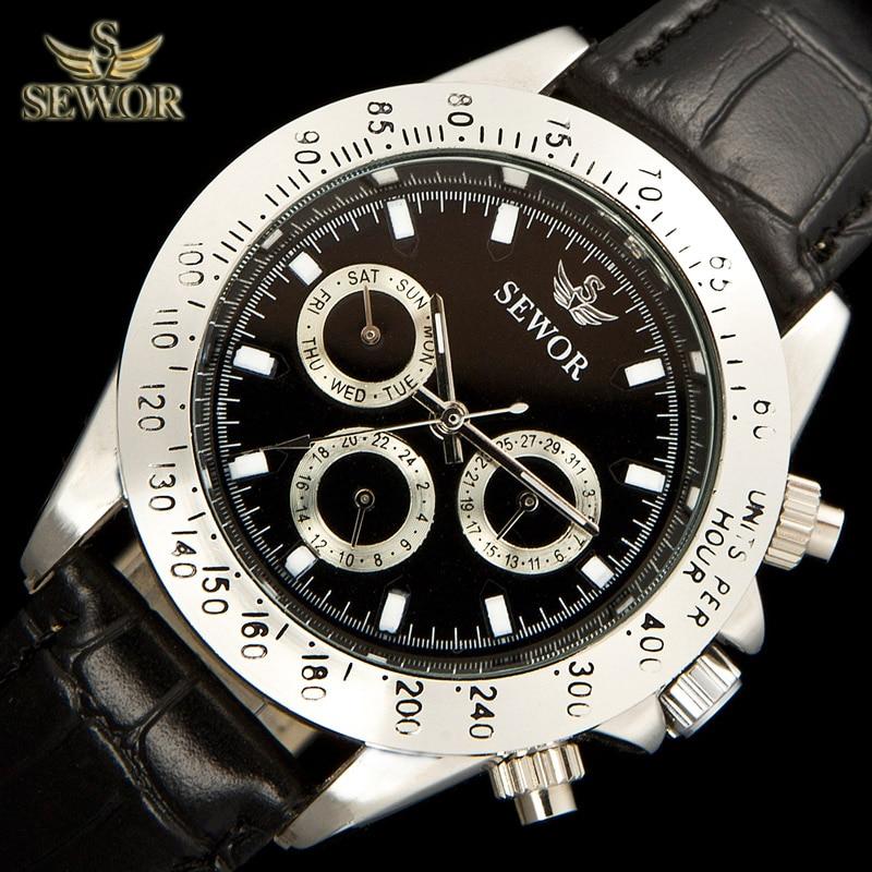 SEWOR-C1096 ساعة رياضية ميكانيكية وأوتوماتيكية للرجال ، معدنية ، فاخرة ، علامة تجارية ممتازة ، للركض في ثوانٍ