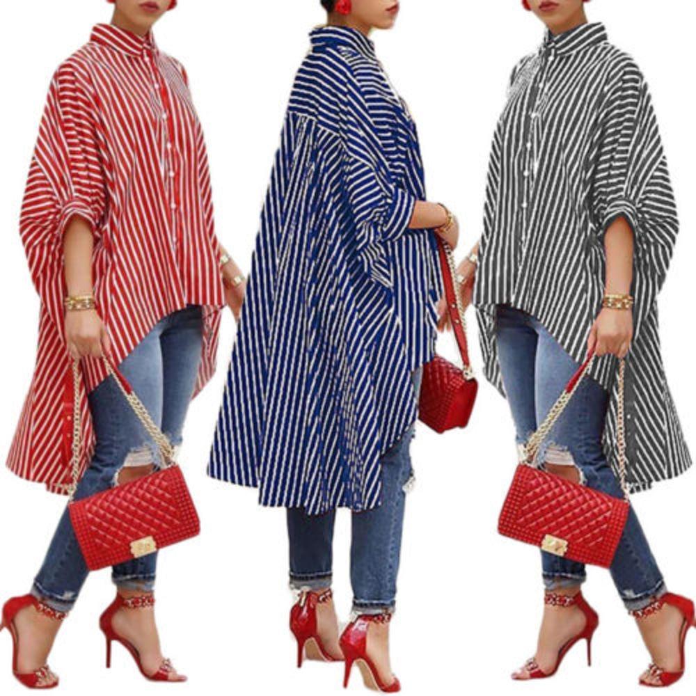 Moda mujer suelta manga larga camisa rayada informal blusa camisas con mangas de linterna mujer chica o-cuello manga de murciélago vestido