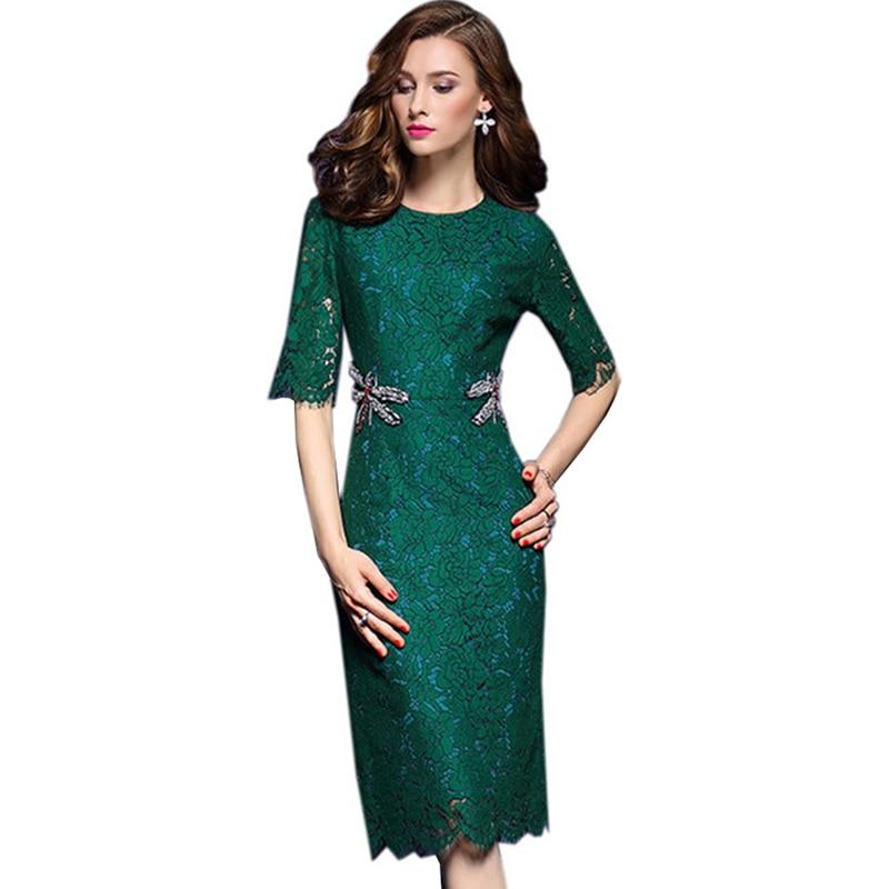 Vestidos para mujer con bordado a la moda de media manga de encaje verde oscuro vestido elegante de oficina de mujer ceñido al cuerpo vestidos de fiesta para mamá