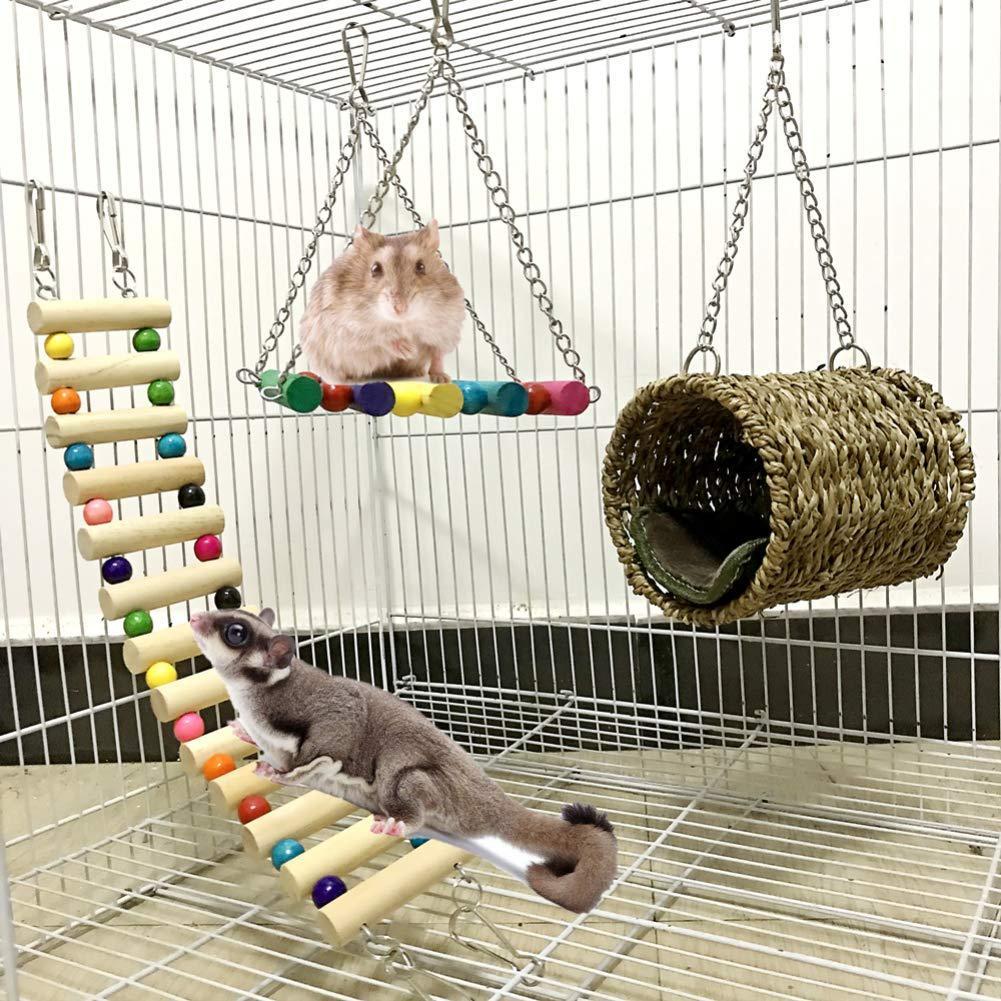Новый 3 шт./гамак для домашних животных качели туннель дом лестница хомяк белка висячая клетка игрушка белка крыса качели гнездо клетки