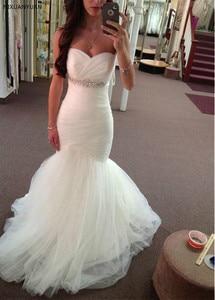 Vintage Vestido De Noiva 2021 Wedding Dresses Mermaid Sweetheart Tulle Beaded Crystals Dubai Arabic Wedding Gown