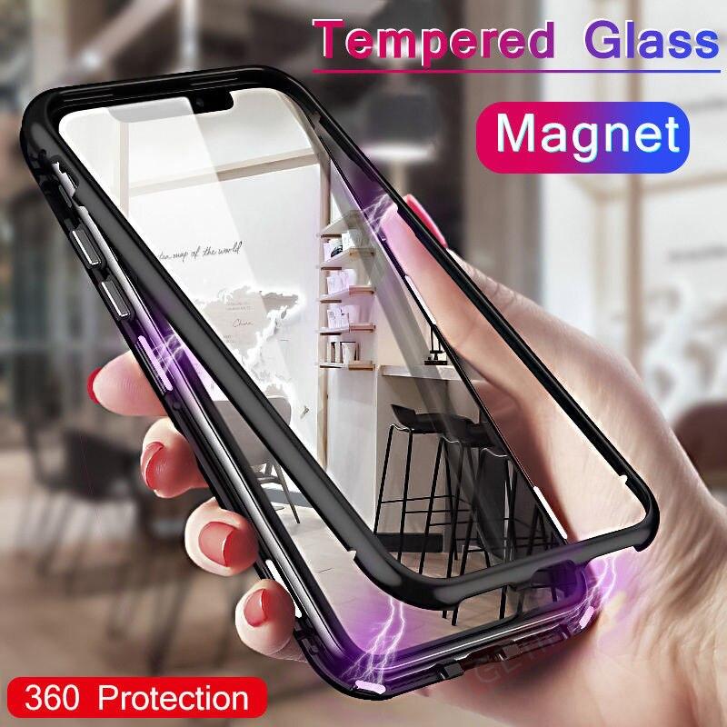 Чехол для iPhone 78 plus с магнитной адсорбцией, металлический флип-чехол для мобильного телефона iPhone XS, чехол для MAX XR, закаленное стекло