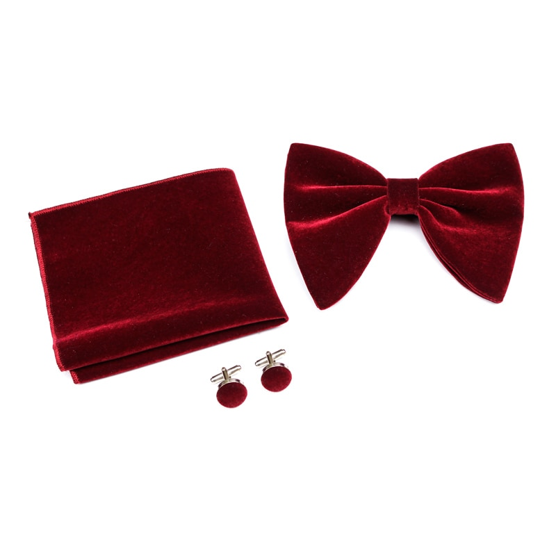 2018 Popular High Quality Men Bow Tie Sets Classical Solid Color Bowties Sets Soft Velvet Touch Party Tuxedo Accessories