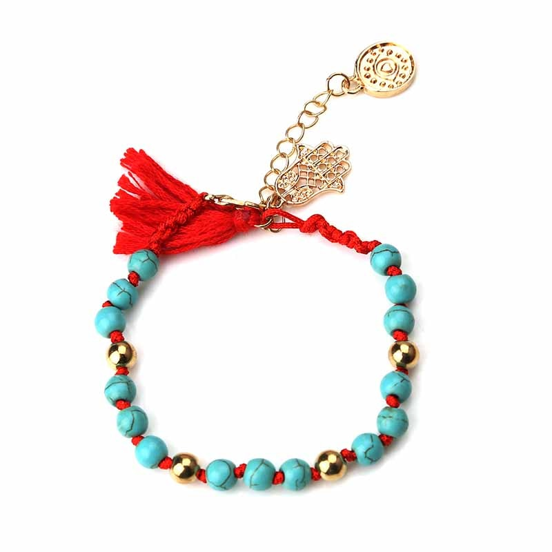 Hot Sale estilo Vintage Pedra Azul Pérola fita preta vermelho borla com hamsa evil eye charme pulseira de pérola