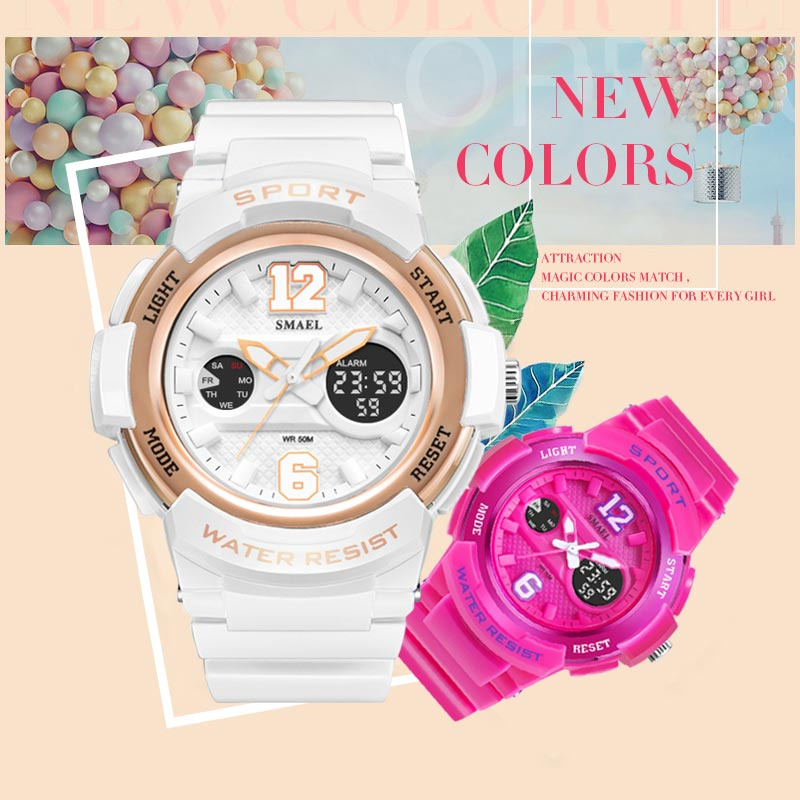SMAEL Women Watch LED Waterproof Rose Gold White Ladies Watch Sport Quartz WirstWatch Bracelet Girls Gift Relogio Feminino enlarge