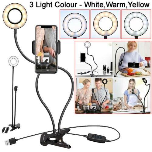 24x LED Selfie anillo luz USB Clip + teléfono móvil Cámara soporte Brazo móvil + 1,4 M Cable USB 3C10