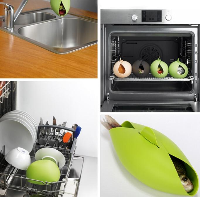 Silikon Fisch Wasserkocher Dampfer-kocher Backen Röster Brot Lebensmittel Gemüse Schüssel Korb Küche Kochen Werkzeuge Zubehör Liefert