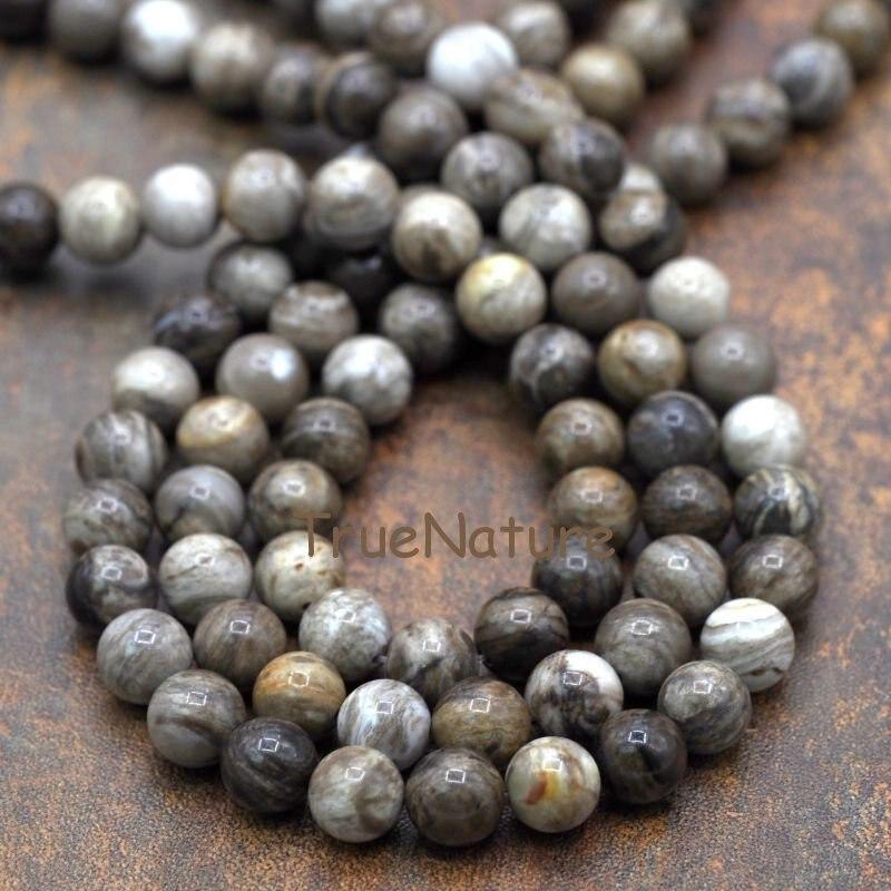 Gran oferta Jaspers hoja de plata cuentas sueltas hebras piedra redonda joyería estilo en 10 mm BE6292