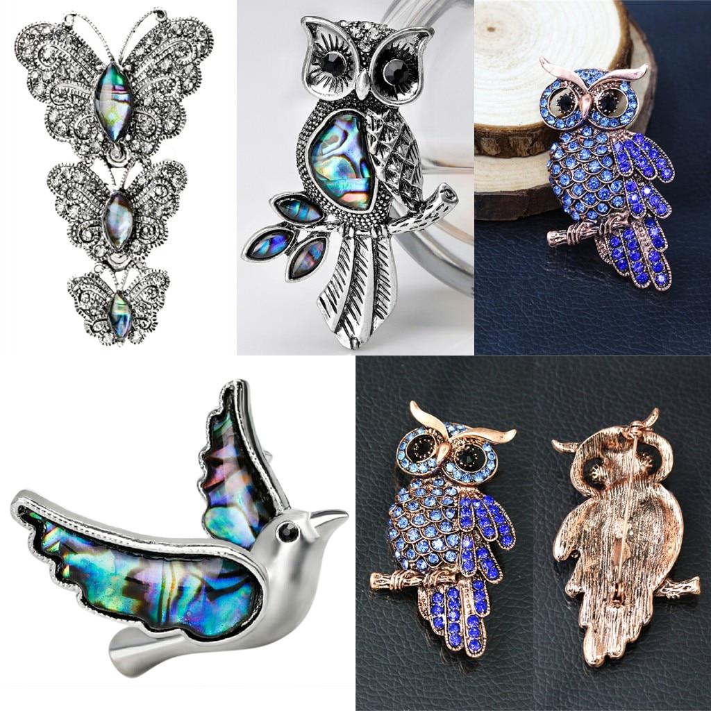 ¡Novedad de 2019! Broches Retro de Paloma, broches de mariposa de búho, broches de mariposa exquisitos de estilo europeo y americano de moda, joyería para mujeres y niñas.